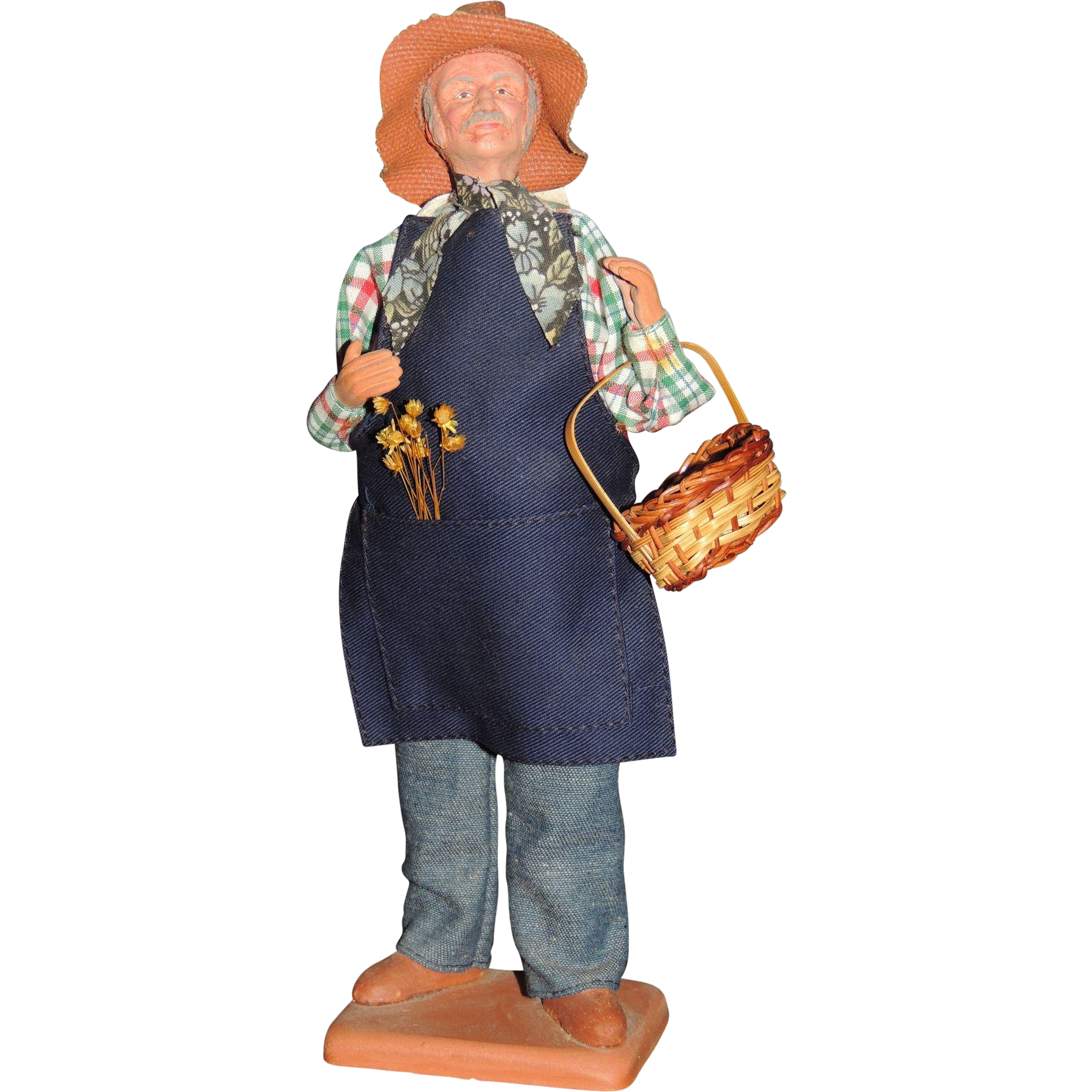 Claude Carbonel Clay Doll Santon De Provence France Male Farmer From Triple V Antiques On Ruby Lane