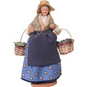 Claude Carbonel Clay Doll Santon De Provence France, Woman Berry Picker