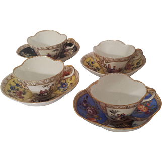 Set of 4 Quatrefoil Hand Painted Helena Wolfsohn Cup & Saucer in Dresden Style
