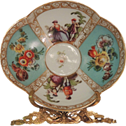 Quatrefoil Hand Painted Helena Wolfsohn Saucers in the Dresden Style - Teal