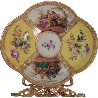 Quatrefoil Hand Painted Helena Wolfsohn Saucers in the Dresden Style - Yellow