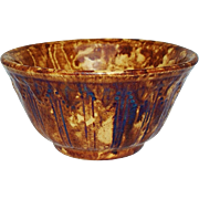 Exceptional Small Rockingham Bowl with Relief  Molded Decoration