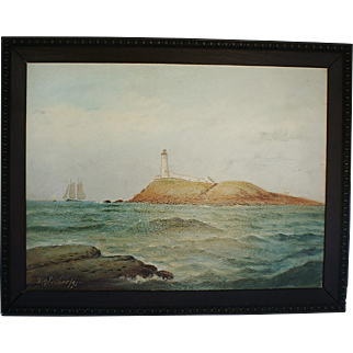 19th. Century D. Fisher  Oil Painting of  Egg  Island Light, Nahant, MA.