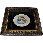 A  Serene 19th. C. Watercolor Portrait of Two Young Girls Beautifully Framed