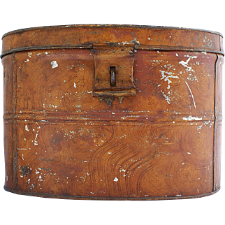 Rare 19Th Century Grain Painted Tin Hat Box