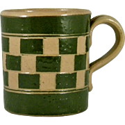 Charming Mochaware Checkerboard Pattern Child's Cup