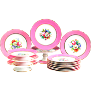 (12)+(4) 19th C French Old Paris Pink Porcelain Plates & Compotes / Tazza Hand Painted Floral Center