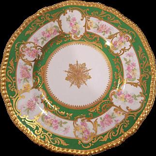 9 Green & Gold Limoges France Porcelain Rose Floral Plates Marked D&C R Delinieries Cie
