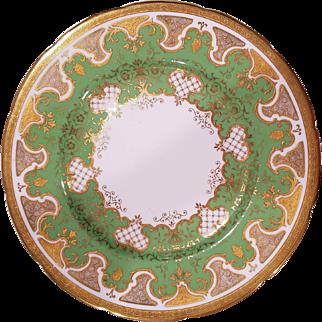 12 Coalport England A.D. 1750 Dinner Plates Pattern#6031y Green Band Gold Enamel Scrolls Porcelain  1891-1919