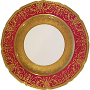 Set of 12 Limoges Guerin Porcelain Dinner Plates, Raised Gold Encrusted & Ruby Red Borders