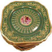 12 Emerald Green Black Knight Minerva Hohenberg Bavaria Square Floral Gold Gilt Dessert Cake Plates