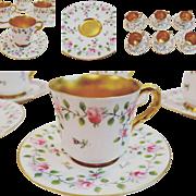 Royal Worcester Porcelain Demitasse Coffee Set Service for 6 - Handpainted & gilt 1910