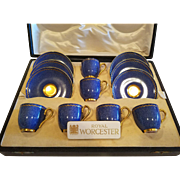 Royal Worcester Boxed Set 6 Six Coffee Demitasse Cups & Saucers c.1932 Blue & Gold
