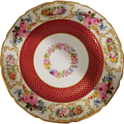 (12) + 1 Limoges William Guerin & Co. dinner plates, maroon and gold with floral rim and center - Red Tag Sale Item