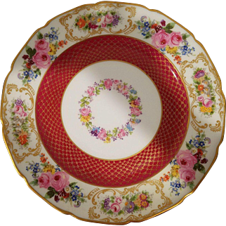 13 Limoges William Guerin & Co. dinner plates, maroon and gold with floral rim and center