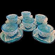 6 Venetian Turquoise Blue Glass Demitasse Set White Enamel Hand Painted Lace Mary Gregory, Moser, Fritz Heckert, Lobmeyer or Meyer's Neffe Style