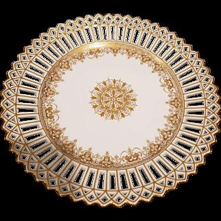 12 Antique Wilhelm and Graef Co 1886 German Reticulated Gilt Cabinet Dessert Cake Plates