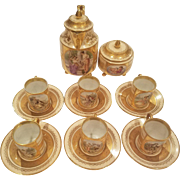 6 Beehive Royal Vienna Cream and Gold Demitasse Cup & Saucers, Tea / Coffee Pot Jug Jeweled, Gilded, Hand painted Tete-a-Tete Cherub, Maidens & Courting Scenes
