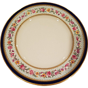 11 Cobalt Blue, Gold Encrusted, Hand Painted & Jeweled Floral Dinner Plates By George Jones Crescent England
