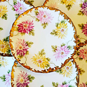 10 Limoges Tresseman & Vogt Dessert, Salad or Luncheon Plates with Colorful Hand Painted Floral Chrysanthemums Center