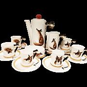 "Royal Doulton ""Reynard the Fox"" hunt motif Coffee Set for 6"