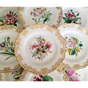 Antique Minton England Porcelain Hand Painted Flowers Gilded Dessert Service Set Includes 10 Plates & 1 Tazza Cake Plate