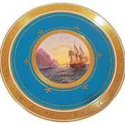 8 Turquoise Minton Cabinet Quality Porcelain Plates Each Plate Hand Painted with Different English Country Scenes 22KT Gilded Edges Gold Encrusted
