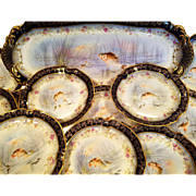 13 Rare Cobalt & Gold M. Redon Limoges SPECIAL Hand Painted Fish Dinnerware Set 12 Plates 1 Platter