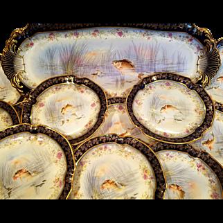13 Rare Cobalt & Gold M. Redon Limoges SPECIAL Hand Painted Fish Dinnerware Set 12 Plates 1 Platter