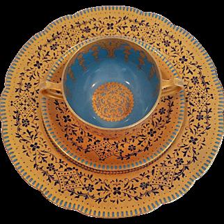 Limgoes Haviland Cobalt Blue & Turquoise set of 6 trios (Cup, Saucer, Plate) Heavy Gold Gilding, Dessert, Salad, Dinner, Luncheon Set