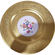 12 Royal USA China Dinner Plates  Encrusted with Heavy 22KT Gold and Floral Center