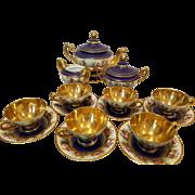 c. 1890 Royal Vienna Courting Porcelain Tea Coffee Set With Gold Gilt Service For Six (6) Tea Coffee Cups, Saucers, Tea Coffee Pot, Sugar Bowl, Creamer Coablt Blue