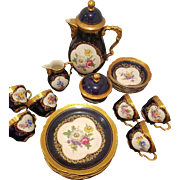 Set of 6 Coffee Tea Trios By  Western Germany Bavaria Fine China Porcelain Lindner Kueps Bavaria Cobalt Blue Tea Coffee Dessert Plate Set Hand Painted Floral 22Kt Encrusted Gilded Gold