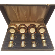 Set of 8 John Aynsley Fine Bone Demitasse Coffee Set, Sterling Silver Holders in Original Case England