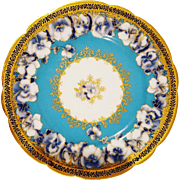 9 Haviland Limoges France Luncheon Plates Turquoise Background Cobalt Blue and Gold Gilded With Scalloped  Edges Hand Painted Blue Flowers
