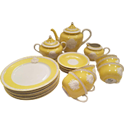 Dainty Musterschutz Czechoslovakia Union Tea Service Pastel Yellow Vintage Cameo Service For 6 Trios Tea Cups Saucers, Plates, Tea Pot, Creamer, Sugar Bowl