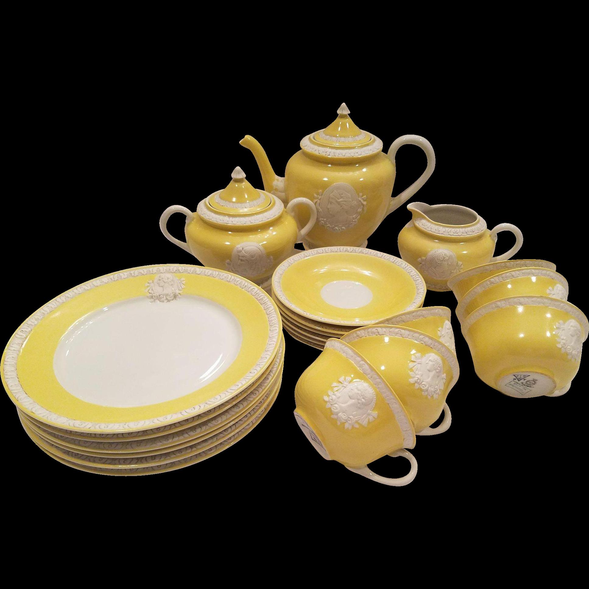 Yellow sugar bowls with lids - Dainty Musterschutz Czechoslovakia Union Tea Service Pastel Yellow Vintage Cameo Service For 6 Trios Tea Cups Saucers Plates Tea Pot Creamer Sugar Bowl