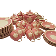 Dainty Musterschutz Czechoslovakia Union Tea Service Pastel Pink Vintage Cameo Service For 12 Trios Tea Cups Saucers, Plates, Tea Pot, Creamer, Sugar Bowl