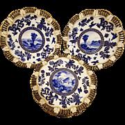 Antique Old Coalport Pierced Dessert Service Set 8 plates 2 comports Imari C1880 Scalloped Edges Cobalt Blue White Gold