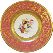 12 Antique Floral Royal Worcester Cabinet Plates Raised Gold Heavy Gilded & Encrusted with Pink Band Ovington Brothers