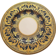 6 Royal Worcester Heavy Gold Gilded Dinner Plates On Dark Blue Cobalt Border
