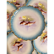 12 Turquoise Baby Blue Limoges French Porcelain Fish Plates. Scalloped Gold Edges Hand Painted Sea Life