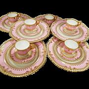 18 piece Copeland Spode Bone China Pink Gold Trio Dessert Demitasse Cup, saucer, plate set