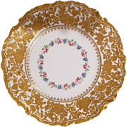 6 Haviland & Co. Dessert Plates Hand Painted Floral Design with Heavy Gold Encrusted Flowers around boarder. H&Co. Ovington Brothers New York