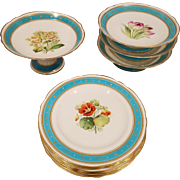 Eleven Piece Old English Partial Dessert Set.  Hand Painted, Enameled and  Jewled Floral Plates and Comports