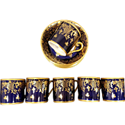 6 Reichenbach Echt Kobalt Cobalt Demitasse Cups & Saucers Made in Germany With Intricate Gold Design