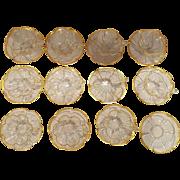 Quatrefoil Clover Bohemian Gold Gilded Demitasse Set 11 Cups & 12 Saucer