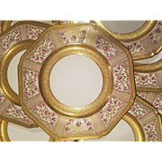 11 Ovington Brothers Octagon dessert/salad plates. Heavy gold with delicate hand painted roses