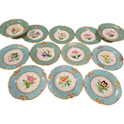 12 Turquoise Old English Botanical Flower Floral Dessert Service 10 plates 2 tazzas, compotes, cake plates