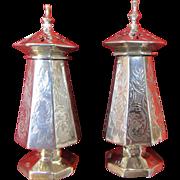 C1884 Robert Wallis English Silver Salt & Pepper